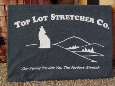 Top Lot Stretcher Co. T-shirt - Heather Grey w White Lettering